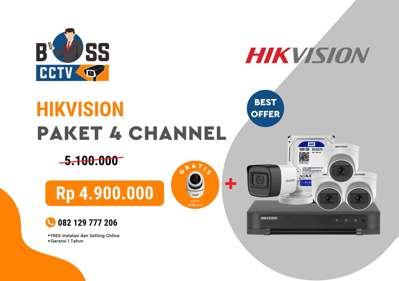 PAKET CCTV HIKVISION 4 CHANNEL